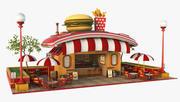 Burger Stand Cartoon V2 3d model
