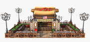 Hotdog Fast Food. Tekenfilm 3d model