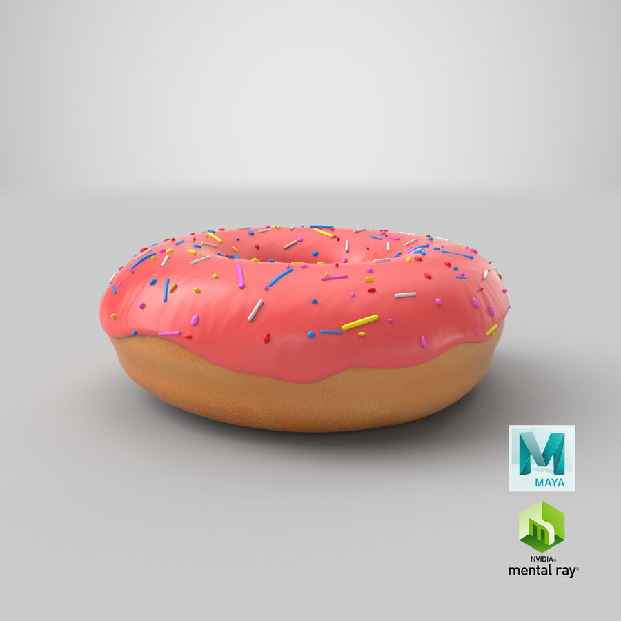 Donut Pink royalty-free 3d model - Preview no. 14