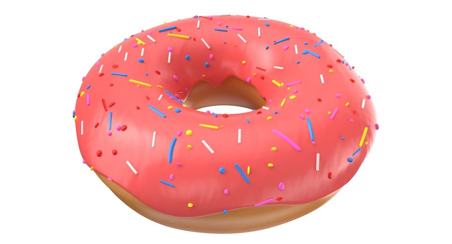 Donut Pink royalty-free 3d model - Preview no. 2