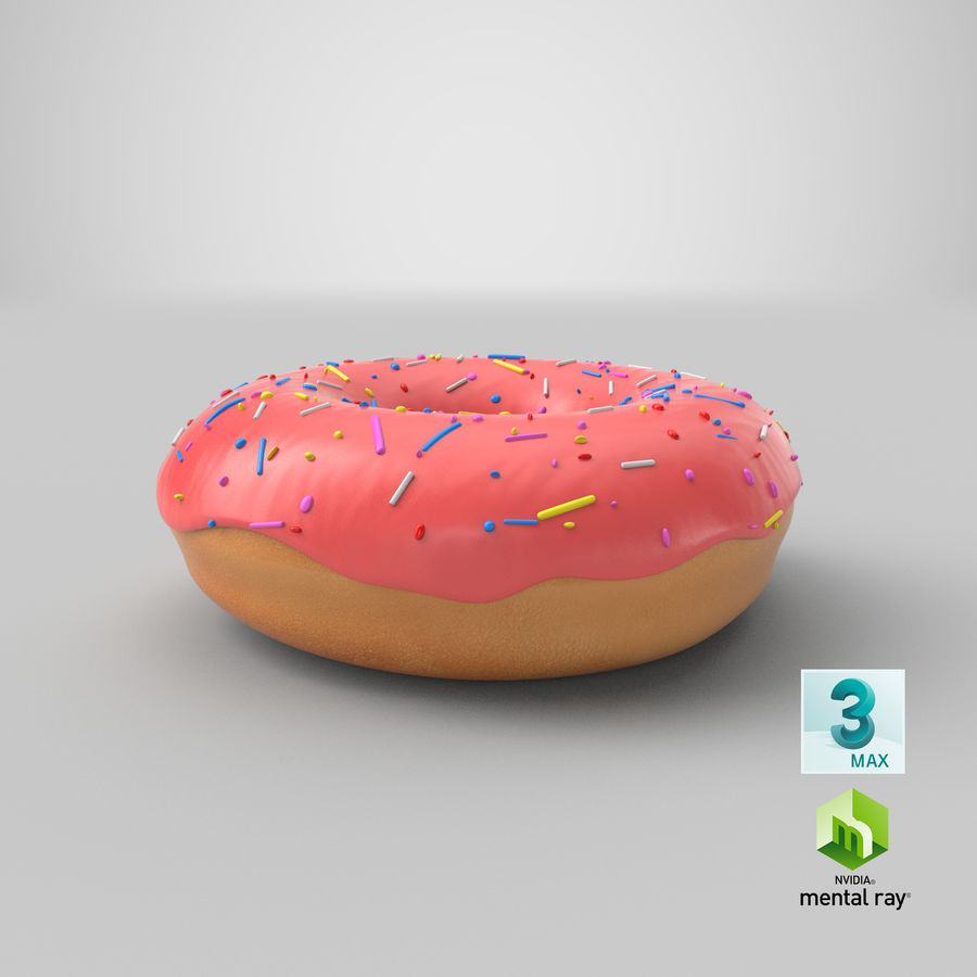 Donut Pink royalty-free 3d model - Preview no. 16