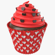 Cupcake With Hearts 3d model