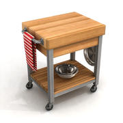 Kitchen Cutting Block Cart 1B 3d model