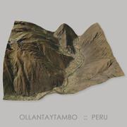 Terreno del Área Arqueológica Inca de Ollantaytambo modelo 3d