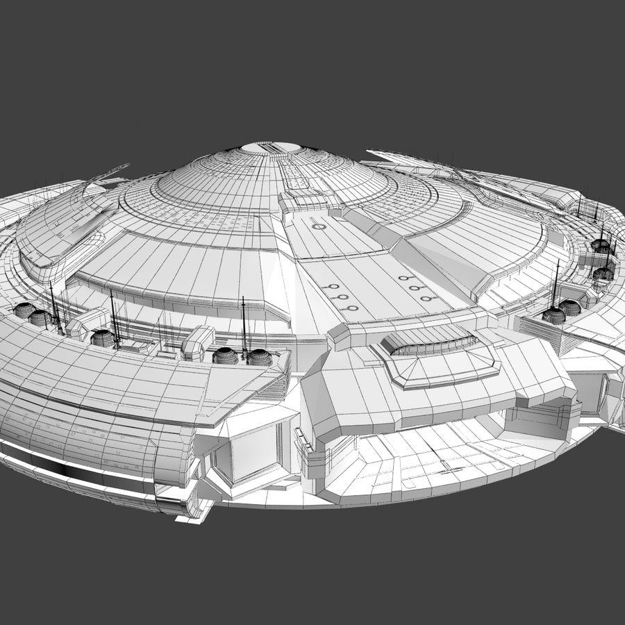 Sci Fi Spaceship Battleship Cruiser - Round Sci-Fi Mothership royalty-free 3d model - Preview no. 9