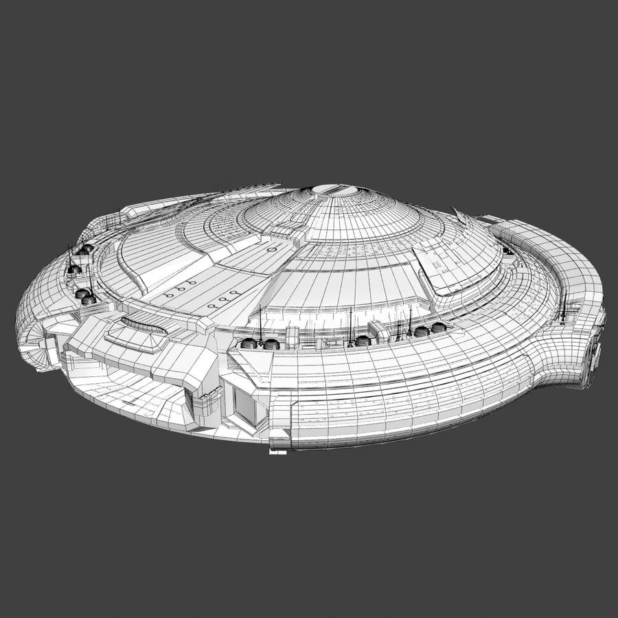 Sci Fi Spaceship Battleship Cruiser - Round Sci-Fi Mothership royalty-free 3d model - Preview no. 7