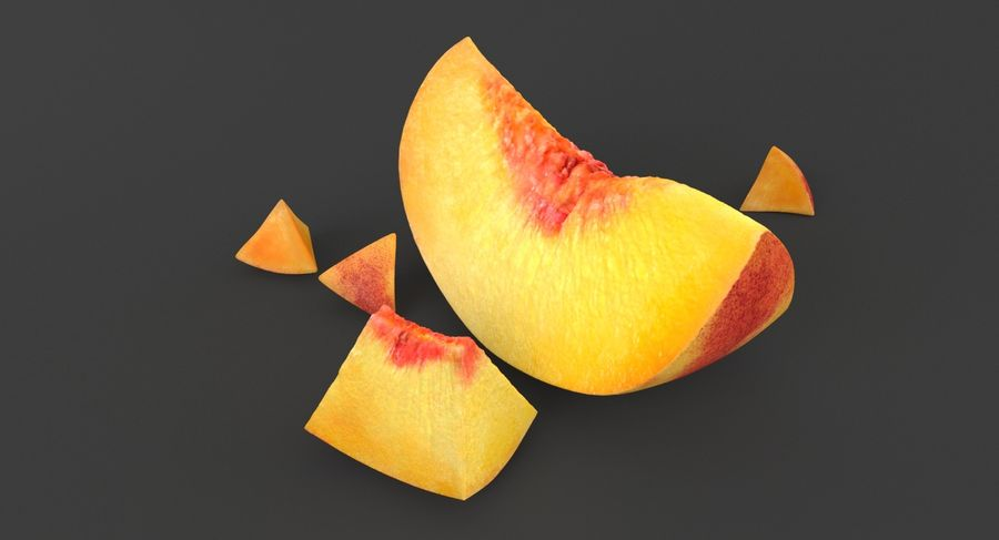 Peach Slice royalty-free 3d model - Preview no. 3