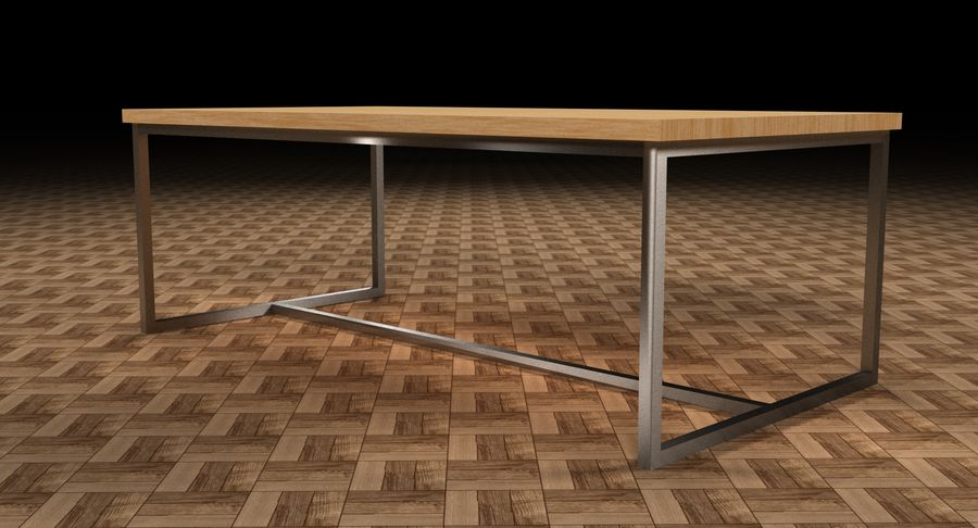 Mesa de comedor minimalista royalty-free modelo 3d - Preview no. 15