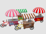 Cartoon Food Carts 3d model