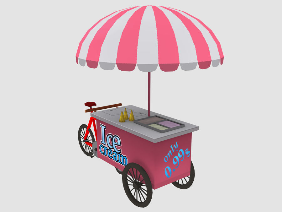 Cartoon Food Carts royalty-free 3d model - Preview no. 4