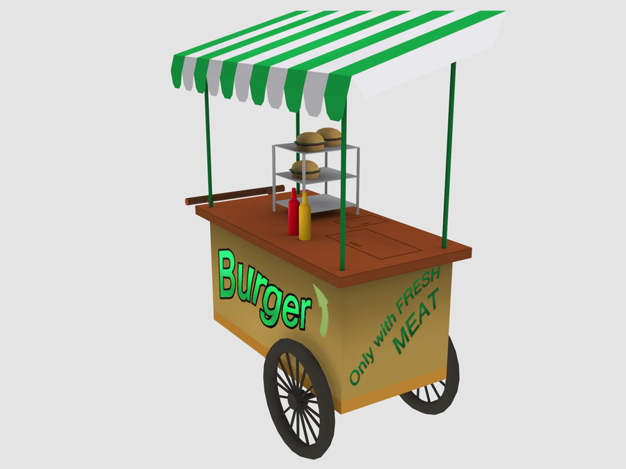Cartoon Food Carts royalty-free 3d model - Preview no. 19