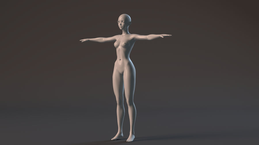 nude girl base mesh royalty-free 3d model - Preview no. 16