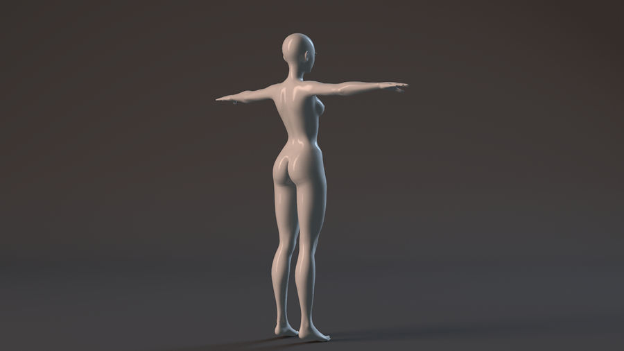 nude girl base mesh royalty-free 3d model - Preview no. 12