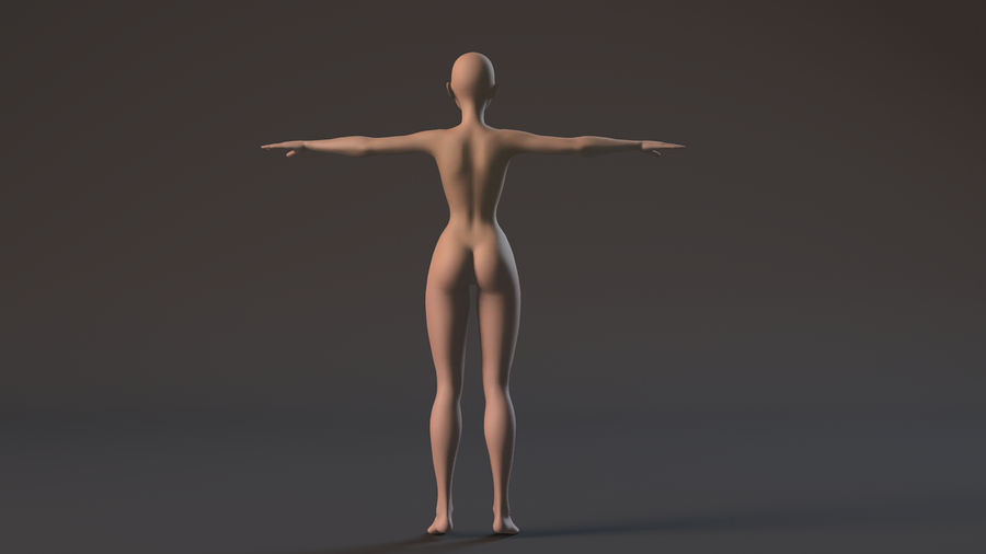 nude girl base mesh royalty-free 3d model - Preview no. 5