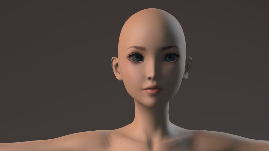 nude girl base mesh royalty-free 3d model - Preview no. 17