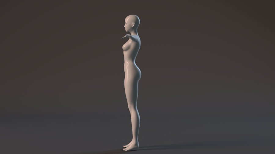 nude girl base mesh royalty-free 3d model - Preview no. 15
