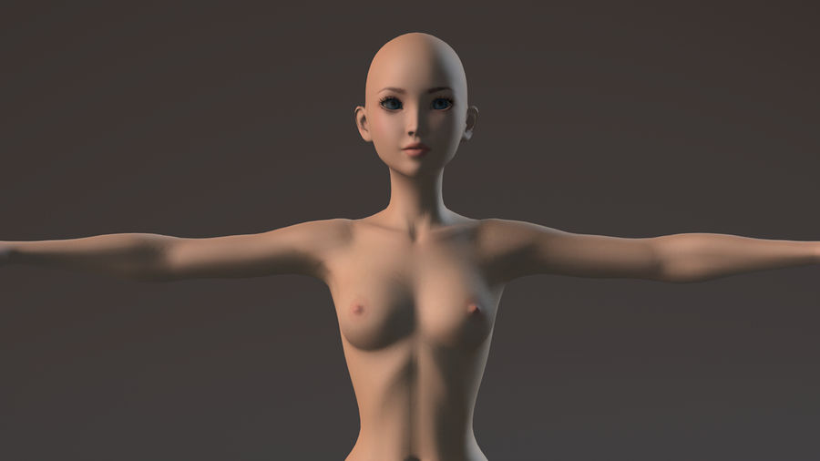nude girl base mesh royalty-free 3d model - Preview no. 21