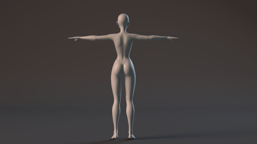 nude girl base mesh royalty-free 3d model - Preview no. 13