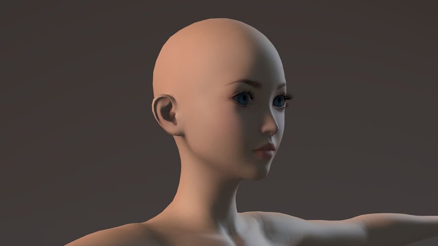 nude girl base mesh royalty-free 3d model - Preview no. 19