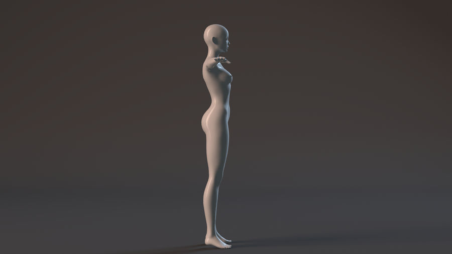 nude girl base mesh royalty-free 3d model - Preview no. 11