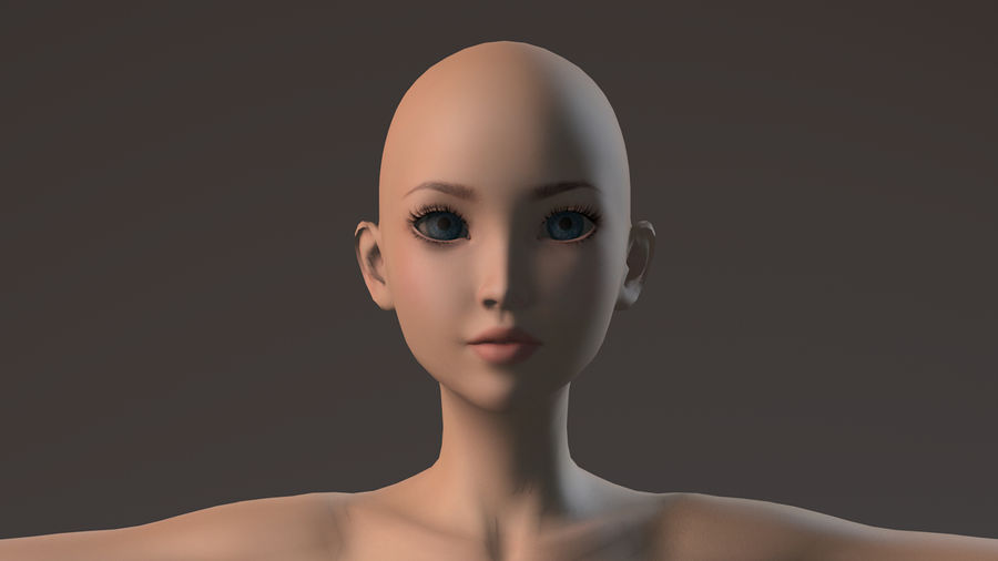 nude girl base mesh royalty-free 3d model - Preview no. 18