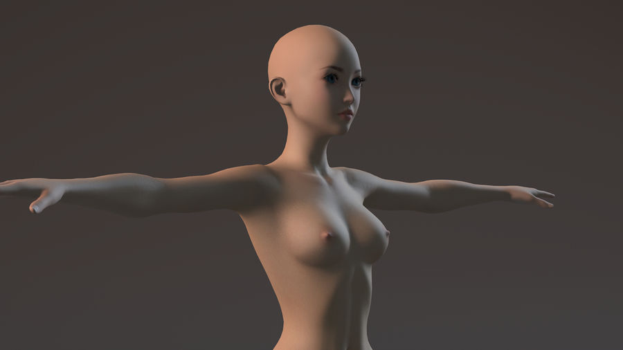 nude girl base mesh royalty-free 3d model - Preview no. 22