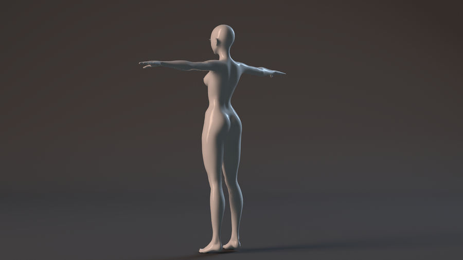 nude girl base mesh royalty-free 3d model - Preview no. 14