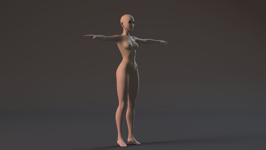 nude girl base mesh royalty-free 3d model - Preview no. 2