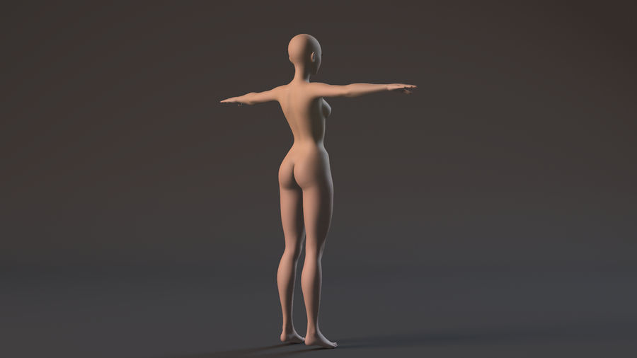 nude girl base mesh royalty-free 3d model - Preview no. 4