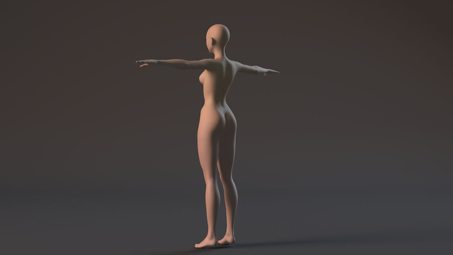 nude girl base mesh royalty-free 3d model - Preview no. 6
