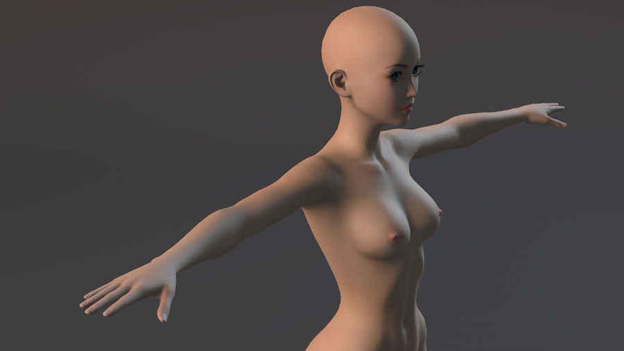 nude girl base mesh royalty-free 3d model - Preview no. 23