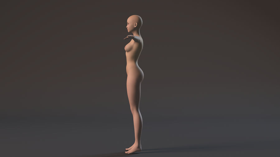 nude girl base mesh royalty-free 3d model - Preview no. 7