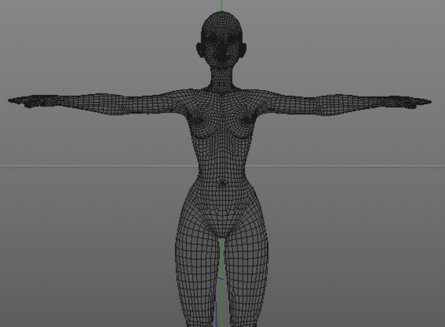 nude girl base mesh royalty-free 3d model - Preview no. 26