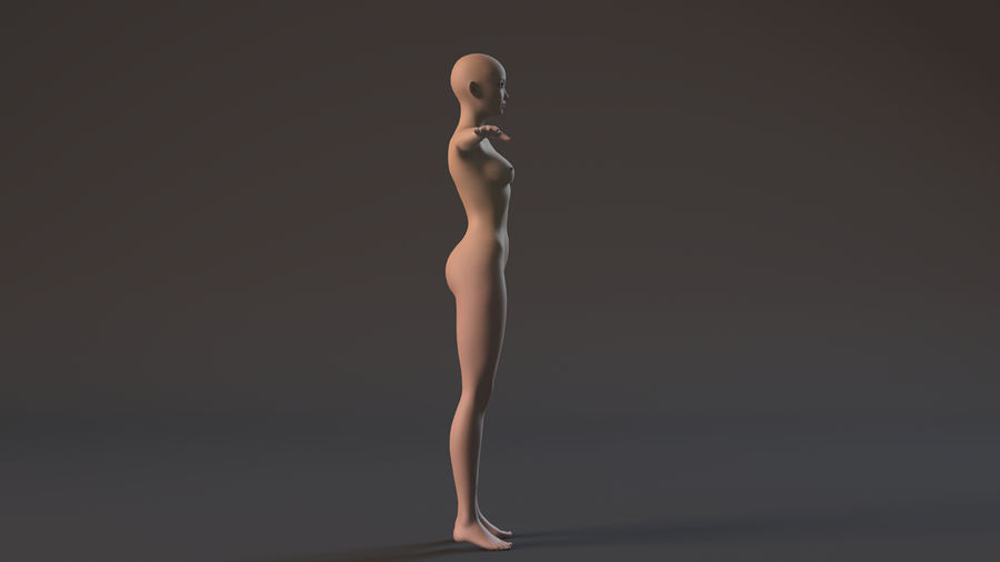 nude girl base mesh royalty-free 3d model - Preview no. 3