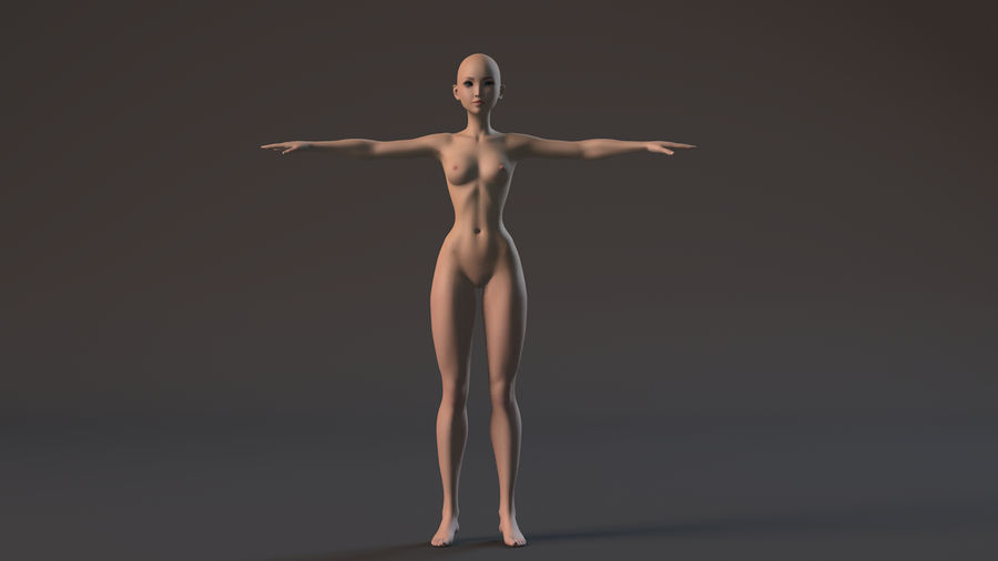 nude girl base mesh royalty-free 3d model - Preview no. 8