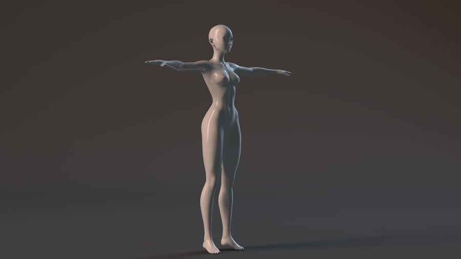 nude girl base mesh royalty-free 3d model - Preview no. 10