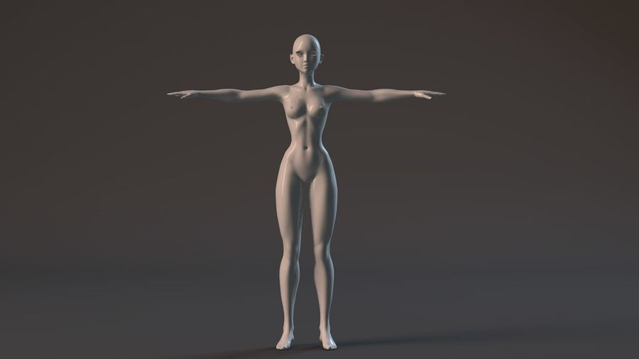 nude girl base mesh royalty-free 3d model - Preview no. 9
