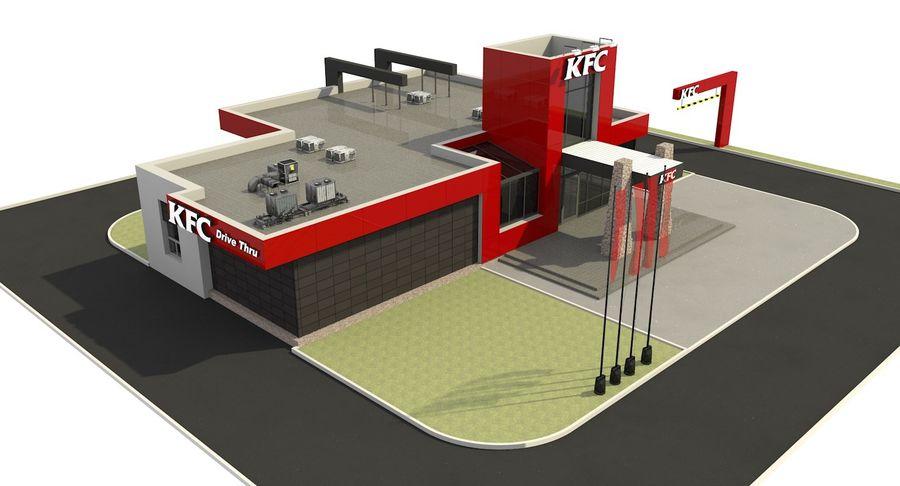 KFC Modern Restaurant Drive Thru royalty-free 3d model - Preview no. 10