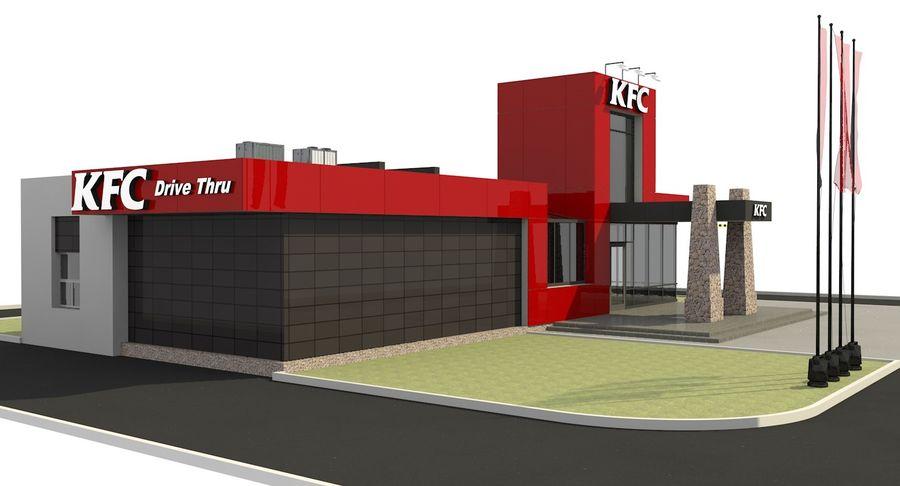 KFC Modern Restaurant Drive Thru royalty-free 3d model - Preview no. 4