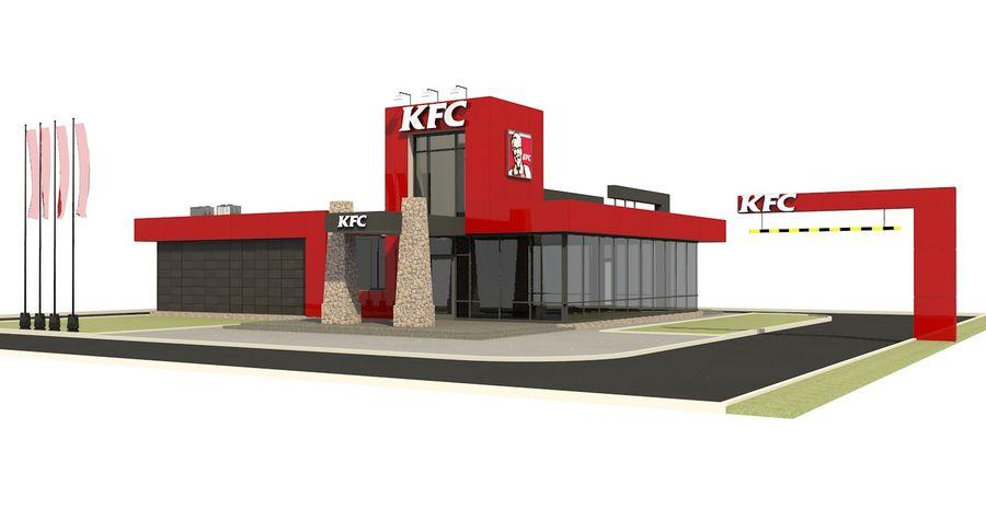 KFC Modern Restaurant Drive Thru royalty-free 3d model - Preview no. 2