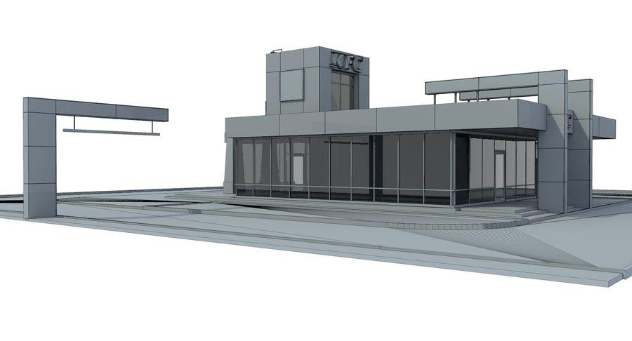 KFC Modern Restaurant Drive Thru royalty-free 3d model - Preview no. 12