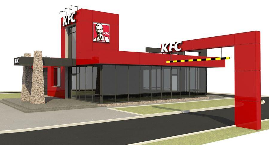 KFC Modern Restaurant Drive Thru royalty-free 3d model - Preview no. 3