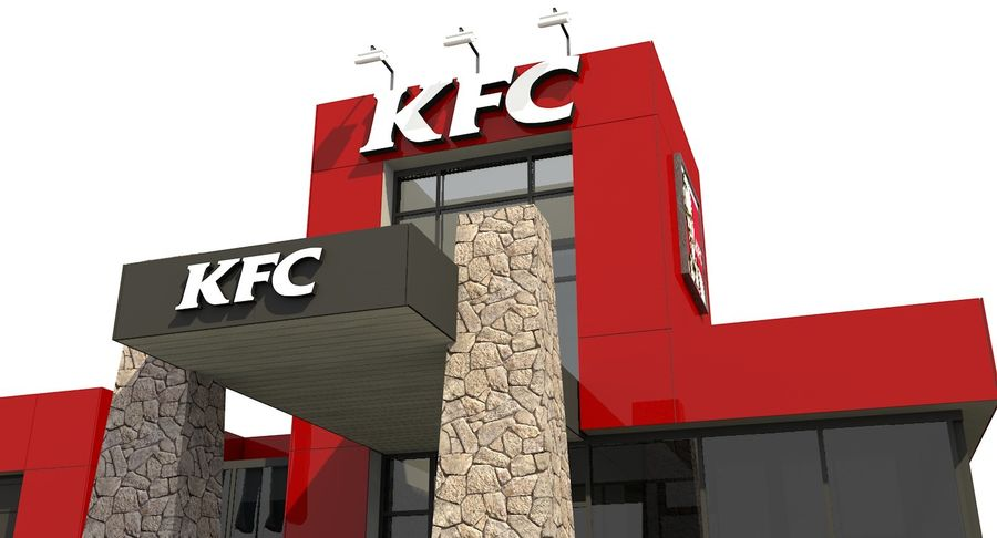KFC Modern Restaurant Drive Thru royalty-free 3d model - Preview no. 9
