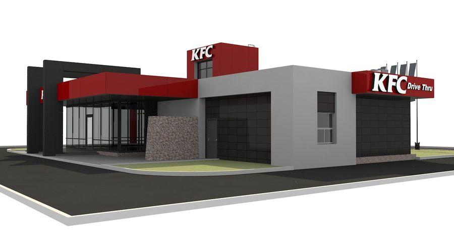 KFC Modern Restaurant Drive Thru royalty-free 3d model - Preview no. 5