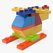 Toy Helicopter Lego Bricks 3D Model 3d model