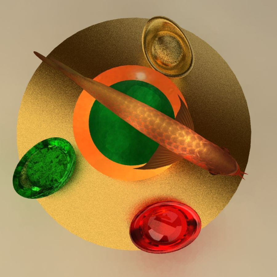 中国の金の魚 royalty-free 3d model - Preview no. 5