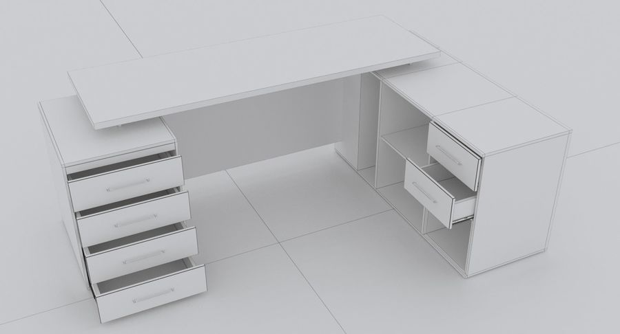 Diseño de oficina minimalista de lujo royalty-free modelo 3d - Preview no. 6