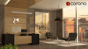 Diseño de oficina minimalista de lujo modelo 3d