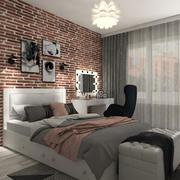 现代青少年卧室室内场景 3d model