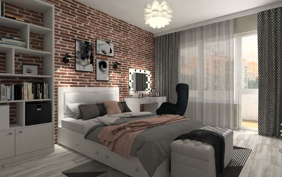 Modern Teen Bedroom Interior Scene 3D Model $36 - .unknown ...